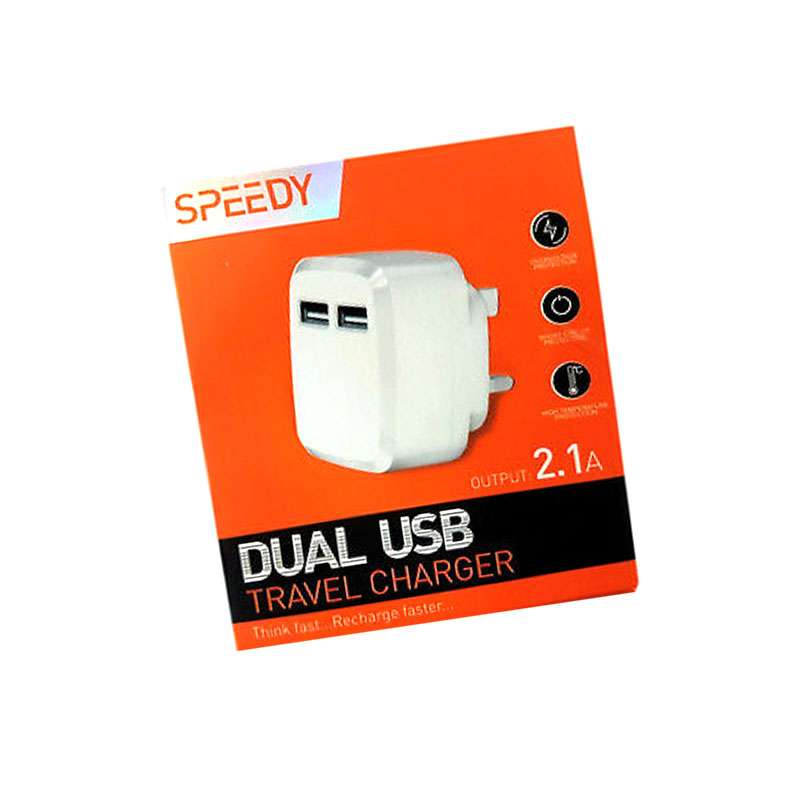 2.1A 5V Speedy Fast Dual 2 Port USB Charger 3 Pin UK Mains Wall Plug Adapter UK