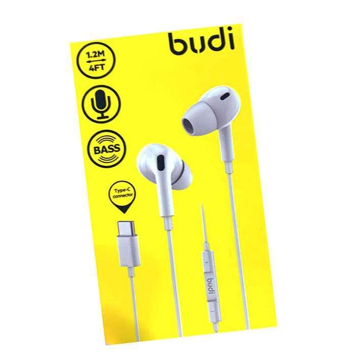 BUDI TYPE C AUDIO STEREO HEADPHONES WITH MICRO PHONE WHITE