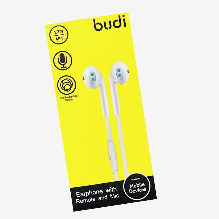 BUDI 3.5MM AUDIO STEREO HEADPHONES WHITE
